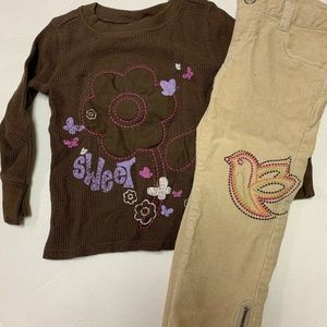 Old Navy Outfit Set Size 2T Beige/Brown
